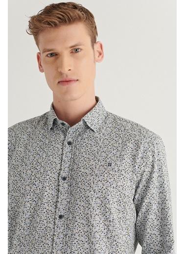 Avva AVVA Erkek Ekru Baskılı Klasik Yaka Slim Fit Gömlek A11Y2057 Gri